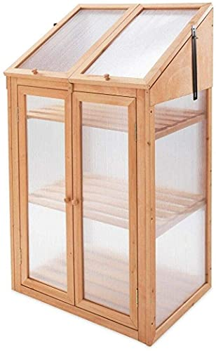 Abaseen Garden Wooden Greenhouse Cold frame, Transparent One Size Brown, 120x69x49 cm With Polycarbonate Semi Transparent Glazing (Wooden Green House, 120x69x49 cm)