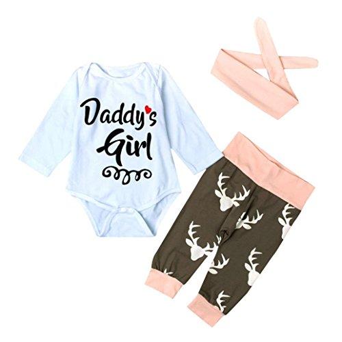 Lylita 3pcs Bambino natale neonato bambino ragazza Romper Body + pantaloni cerchietto abiti set