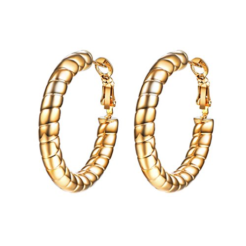 PROSTEEL Cavi Orecchini Cerchi Ornati Spirali in Acciaio Inossidabile, 3 dimensioni e 3 Colori Disponibili(argento oro nero), Confezione Regalo Gratuito, per Donna