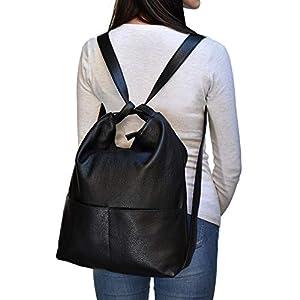 Ganza Roma Rucksack Damen Leder Umhängetaschen 2 in 1 Modell Teodoro Italienische Handgemachte
