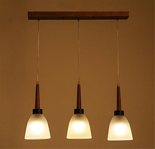 Atmko®Lampade a Sospensione Lampadario vetro in legno massello camera tripla lampada a sospensione lampadario sala da pranzo soggiorno