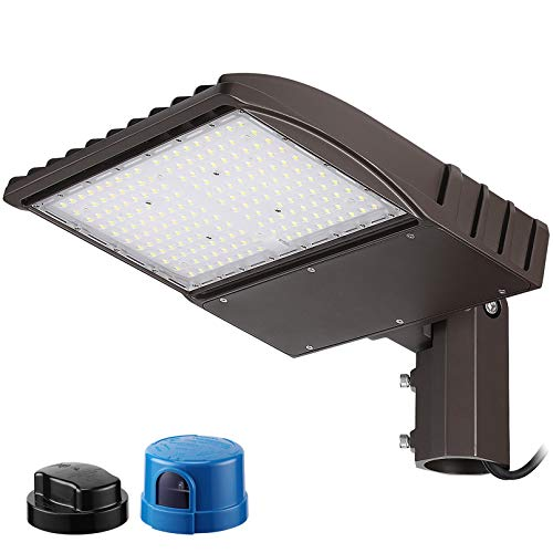 LEONLITE 150W LED Parking Lot Lighting, UL Listed, Adjustable with Photocell Slip Fitter LED Parking Lot Lights 20250lm, Commercial LED Area Light IP65 Led Shoebox Light, 5000K Daylight