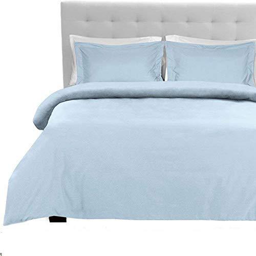 Tula Linen Juego de sábanas de 1200 Hilos, 4 Piezas, 100% algodón Egipcio, Color sólido de Primera Calidad, tamaño de Bolsillo 30 cm (UK King, 150 x 200 cm, Azul Luz)
