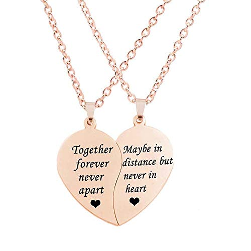 Loozykit 2 collares colgantes a juego en forma de corazón con cadena de acero inoxidable para mujer (rosa, 2 unidades)