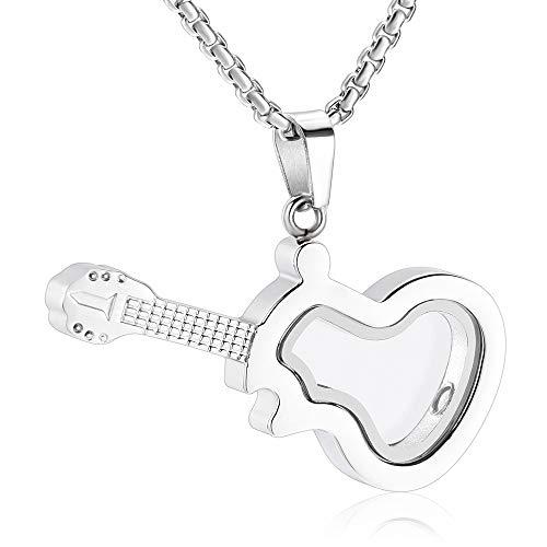 Clear Glass Guitar Cremation Neckalce for Women Men Musical Instrument Memorial Urn Jewelry for Ashes Keepsake Pendant