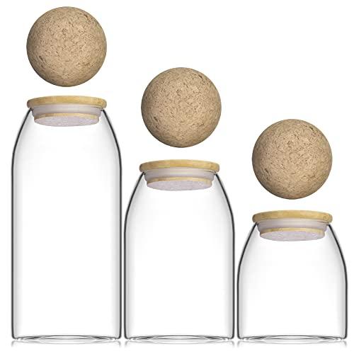 Kuahome Glas Vorratsglas 3-Set mit Deckel, luftdicht Borosilikatglas Vorratsbehälter. Aufbewahrung Gewürzen Vorratsdosen vorratsgläser aufbewarungsgläser