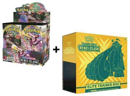 Pokemon Sword and Shield Rebel Clash Booster Box and Elite Trainer Box Bundle (Sold and Shipped by Dan123yal Toys+) 44 Packs Total! image