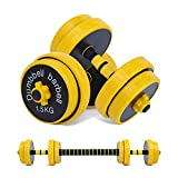 Nice C Adjustable Dumbbell Barbell Weight Pair, Free Weights 2-in-1 Set, Non-Slip Neoprene Hand, All-Purpose, Home, Gym, Office (Barbell 33LB or 16 LB Dumbbell Pair)