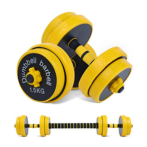 Nice C Adjustable Dumbbell Barbell Weight Pair, Free Weights 2-in-1 Set, Non-Slip Neoprene Hand, All-Purpose, Home, Gym, Office (Barbell 33LB or 16 LB Dumbbell Set)