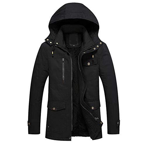 Xmiral Motojacket Für Herren Langarm Warmes Plüschfutter Winddichter Mantel Plus Size Zipper Hooded Jacket(b-Schwarz,XL)