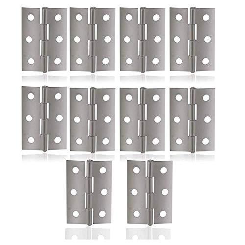 Edelstahl Scharniere, Anlising 10 Stück Edelstahl Tür-Scharnier, Scharnier Satz,Türband Steckverbinder,für Fenster Schrank,Massive Türen(Innen + Außen) 44 x 31 x 3 mm (Silber)