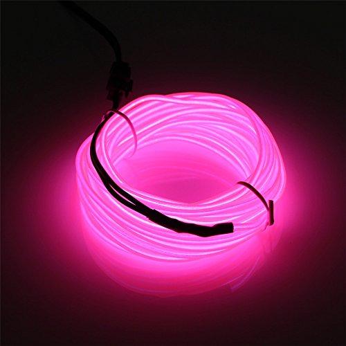 JIGUOOR 10M EL Draht EL Kabel Neon Licht Beleuchtung Wiederaufladbar für Party Halloween Kostüm Weihnachten Dekoration mit 3 Modis (Rosa)