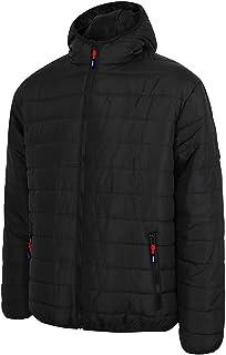 Lee Cooper Workwear Mens Full Zip Thermal Workwear Zipped Hooded Padded Quilted Jacket Coat, Black, M