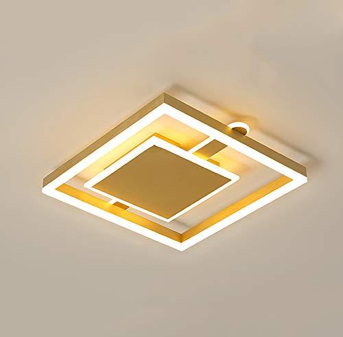 Lámpara Techo LED Moderna Sala Estar Regulable Con Control Remoto,Diseño Cuadrado Plafón Comedor, Φ50CM/53W,Temperaturas Color 3000-6000K Para Dormitorio, Caffetteria, Estudio,Oro