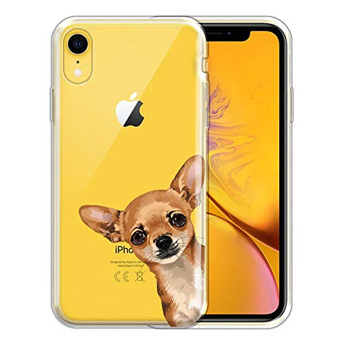 FINCIBO Case Compatible with Apple iPhone XR 6.1 inch, Clear Transparent TPU Silicone Protector Case Cover Soft Gel Skin for iPhone XR - Fawn Apple Head Chihuahua Look for You