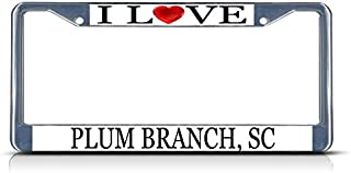 Sign Destination Metal Insert License Plate Frame I Love Heart Plum Branch, Sc Style A Weatherproof Car Accessories Chrome 2 Holes Solid Insert Set of 2