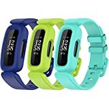 TopPerfekt Bands Compatible with Fitbit Ace 3 for Kids, Soft Silicone Waterproof Bracelet Accessories Sports Watch Strap Replacement for Fitbit Ace 3 Boys Girls (3-Blue,Lime, Lake blue)