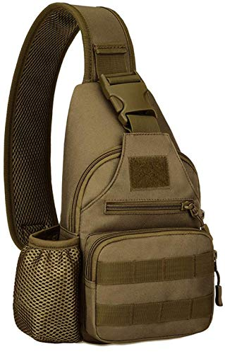 ACOMOO Tactical Chest Sling Bag Water Resistant MOLLE Shoulder Backpack Mens One Strap Daypack with Water Bottle Holder Brown