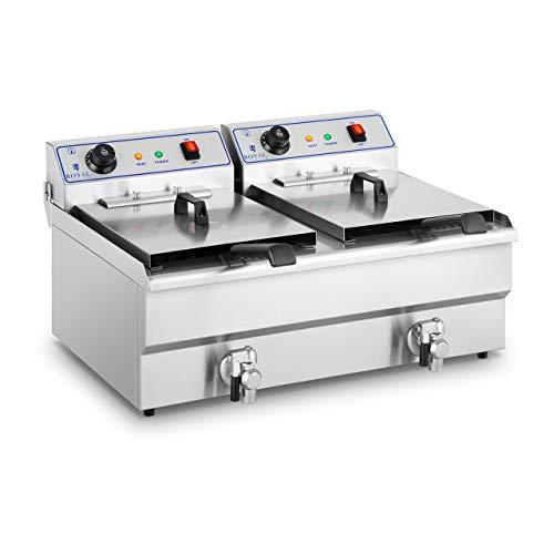 Royal Catering RCSF-16DTH Friggitrice Professionale Friggitrice Elettrica Doppia (2 x 16 L, 2 x 6.000W, 380V, 200°C, Rubinetto di Scarico, Acciaio Inox)