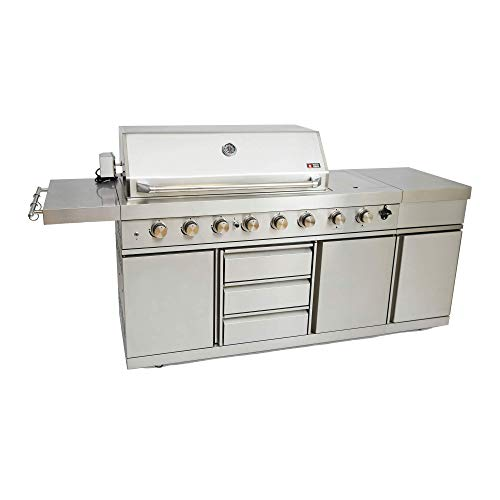Mayer Barbecue ZUNDA MGG-362 Extreme Gasgrill Outdoorküche, Edelstahl, 6 Hauptbrenner, 1 Backburner, 1 Searburner, viele Extras, 237,5 x 120 x 60,5 cm