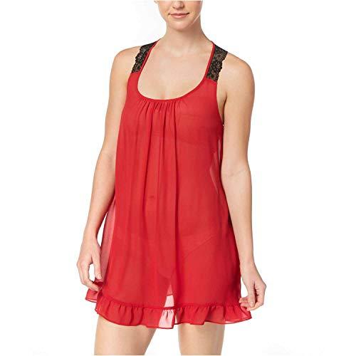 Linea Donatella Womens Sheer Lace Racer Back Chemise (Crimson, Small)