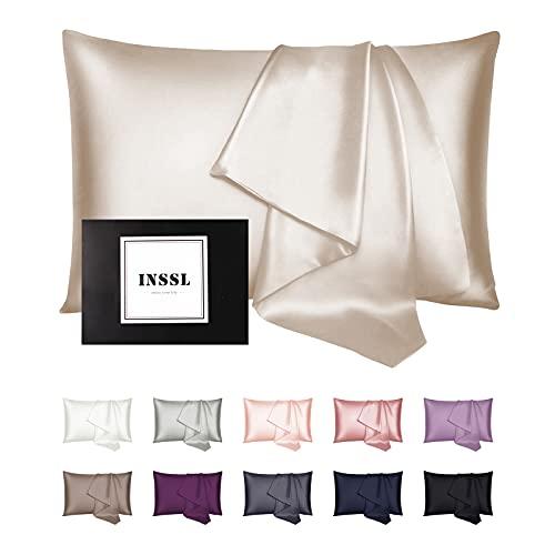 INSSL Taie d'oreiller en soie pour femme, taie d'oreiller en soie de mûrier pour cheveux et peau, confortable et respirant pendant le sommeil (taupe, 50,8 x 66 cm)
