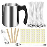 Kyrieval 207pcs Candle Making Kit with 100PCS Cotton Candle Wicks, 1PCS Candle Make Pouring Cup, 1pcs Spoon, 100PCS Wicks Sticker, 4PCS Candle Wicks Holder, Great for DIY Candles