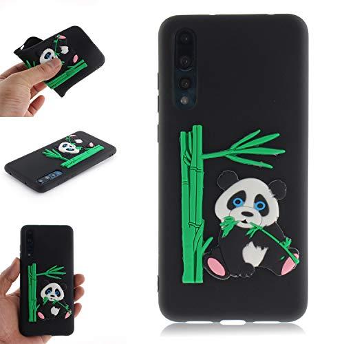 JCKHM Hülle kompatibel mit Huawei P20 pro Hülle Silikon,Panda isst Bambus-TPU-Schale Hülle Silikon Liquid Silikon Ultra dünn Komplettschutz,Anti-fall Etui Weich stoßfest,Schwarz,EINWEG packet