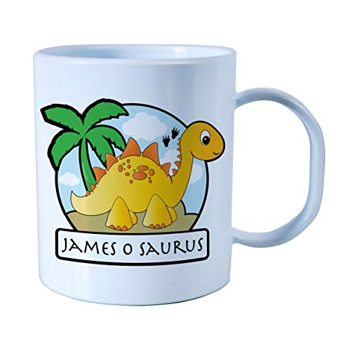 Personalised Gift Plastic Yellow Stegosaurus Unbreakable Kids Cup,Personalised with children's names. Birthday or Easter Gift