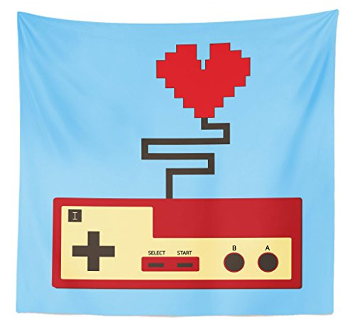 Lunarable Gamer Tapestry Queen Size, Pixel Art Style Heart Connected to a Controller with Simplistic Design, Wall Hanging Bedspread Bed Cover Wall Decor, 88' X 88', Pale Blue Beige Ruby