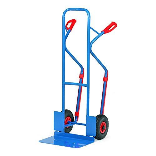 Fetra B1331L Stahlrohrkarre, Traglast 300 kg, Schaufel L 480 x 300 mm, Luftbereifung, H x B 1300 x 580 mm, blau