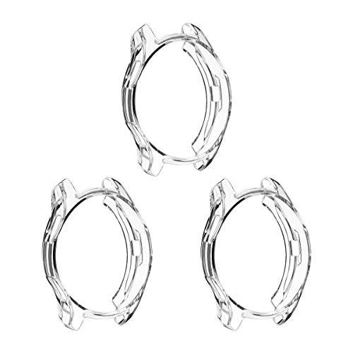 UKCOCO Funda Galaxy Watch 42mm, 3 Piezas Ultra Delgado Transparente Cubierta de TPU Silicona Goma Carcasa Protectora de Parachoques para Samsung Galaxy Watch 42 mm 2018