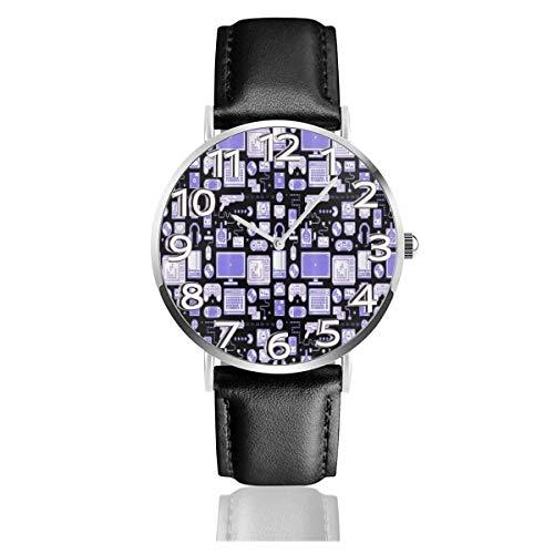 Lila Spiel Computer Unisex Uhr Mode Sport Uhr PU Lederband Quarz Armbanduhren Schlanke Klassische Uhr