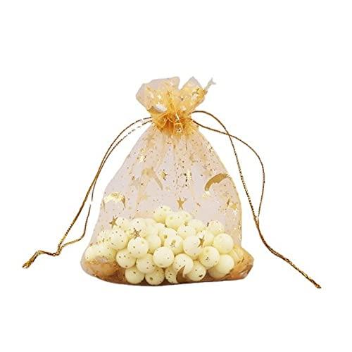SUDHG 50 unids/Lote Bolsas con cordón para joyería Bolsa de Organza Transparente Oro Luna Estrella Malla Regalos de Boda Paquete Barato