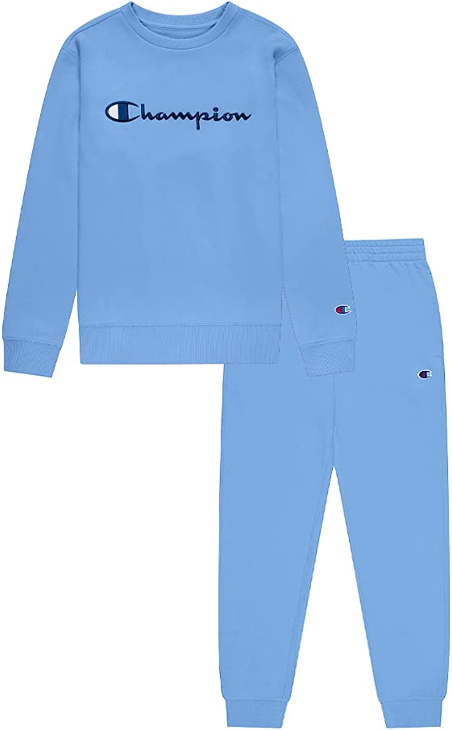 Champion Boys Two Piece Classic Core Colors Hooded And Crewneck Sweatshirt And Fleece Jogger Sweatpants Infant Toddler Sets