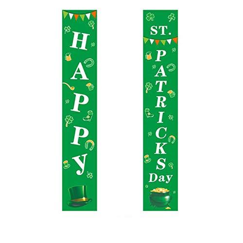 Moent Banderas colgantes para el día de San Patricio, irlandés para el porche de vacaciones para el hogar, decoración de fiestas