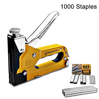 3-in-1 Staple Gun, Hand Operated Carbon Steel Brad Nail Gun, Tool for Fixing Material, Decoration, Carpentry, Furniture, Doors And Windows, Billboards, 600 Staples Attached
