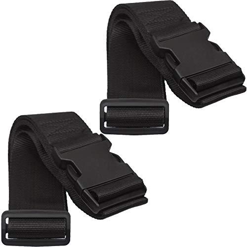 Twin Pack Luggage Straps Adjustable Security Suitcase Travel Belt Non-Slip Packing Belt (Black)