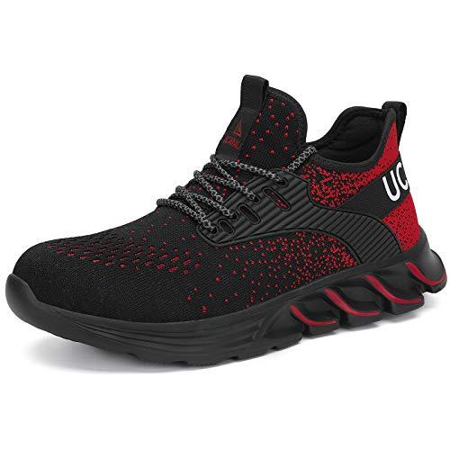 UCAYALI Zapatos de Seguridad Hombre Zapatillas de Trabajo Mujer Zapatillas de Seguridad Deportivos Zapatos con Punta de Acero Rojo N Gr.41