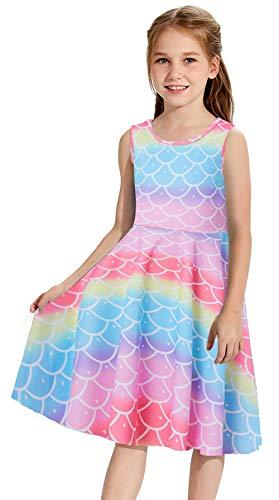Goodstoworld Little Girls Mermaid Dress Rainbow Fish Scale Summer Dresses Casual Playwear Twirl Dress Sleeveless Beach Party School Sundresses Birthday Gift 6-7 Years