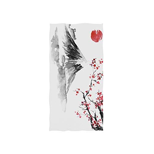 CPYang Toalla de mano japonesa tradicional pintura flor altamente absorbente para el hogar, cocina, baño, gimnasio, natación, spa