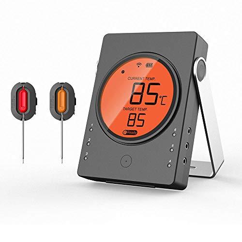 ZHB Termómetro de Carne de Cocina Digital inalámbrico Negro para Barbacoa para cocinar Parrilla de Barbacoa Horno ahumador Hornear Leche Temperatura de Yogur, etc.