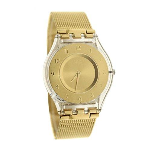 Swatch Damen Digital Quarz Uhr mit Edelstahl Armband SFK355M
