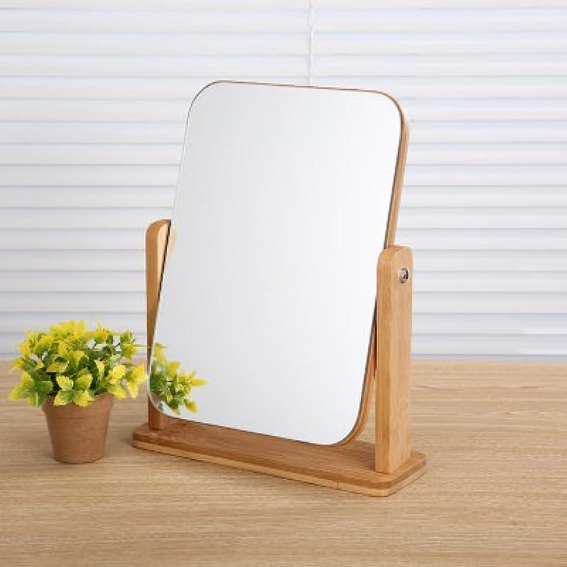 であること準備区画角度調節可能 木枠 コンパクト メイクミラー 卓上ミラー 化粧鏡