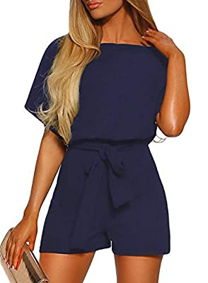 Happy Sailed Women Casual Short Sleeve Belted Wide Leg Pant Romper Jumpsuits X-Large Black X-Large Blue