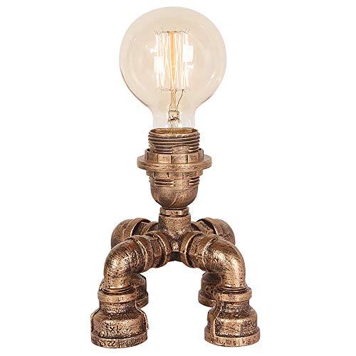 XGBIN Tischlampe , Schlafzimmer Nachttischlampe Retro Industrielampe , Kupferrohr Nachtlicht , LED-Lampe Arbeit kleine Tischlampe (Farbe: Dimmschalter)