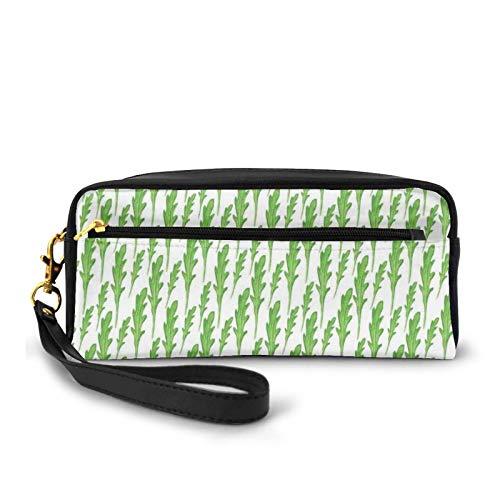 Kleine Make-up-Tasche, Arugula-Roquette-Blättersamen, Spinat-Stil, organisch, natürliche Gesundheit, Aquarell, PU-Leder, Reißverschluss, Reise-Kosmetiktasche und Bleistift-Organizer