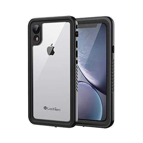Lanhiem Funda Impermeable iPhone XR, Carcasa Sumergible Resistente Al Agua IP68 Certificado [Protección de 360 Grados], Carcasa para iPhone XR con Protector de Pantalla Incorporado,Negro
