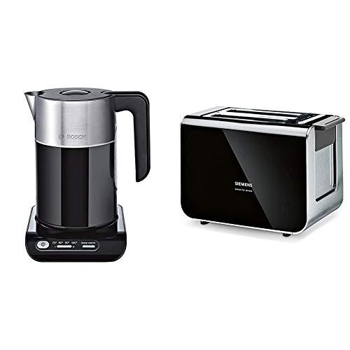 Bosch TWK8613P kabelloser Wasserkocher, Abschaltautomatik, Überhitzungsschutz, 1,5 L, 2400 W, schwarz & Siemens TT86103 Toaster / 860 Watt / für 2 Scheiben / wärmeisoliertes Gehäuse / schwarz