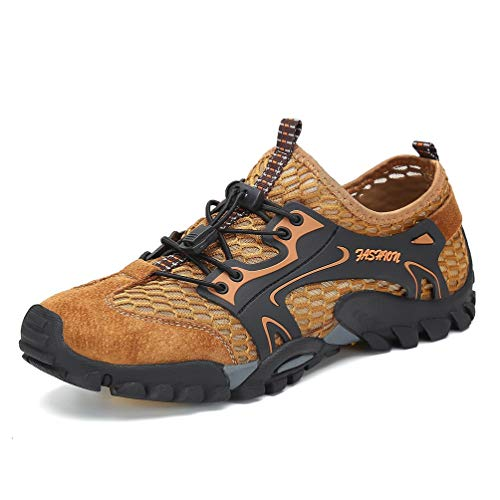 FLARUT Herren Sommer Trekking Sandale Wanderschuhe Super Atmung Draussen Hiking Schuhe Mesh Vamp Wasserschuhe Sport Laufen Klettern(Braun,44)